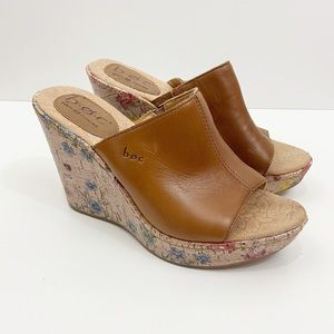 BOC Floral Cork Wedge Tan Leather Sandal Size 7